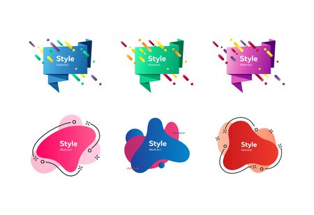 Collection of minimal modern badge. Dynamical colored forms and line. Gradient banners with flowing geometric shapes. Template for the design of flyer or presentation. Vector illustration