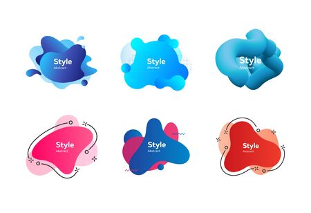 Collection of modern aqua abstract graphic elements. Vector illustration. Can be used for advertising, marketing, presentation