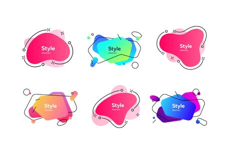 Collection of multi-colored flowing liquid shapes. Dynamical colored forms and line. Gradient banners. Template for design of flyer or presentation. Vector illustration