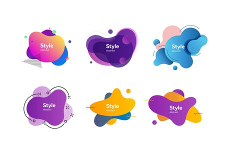 Fluid gradient shapes. Dynamical colored forms. Gradient banners with flowing liquid shapes. Template for design of  poster or presentation. Vector illustration