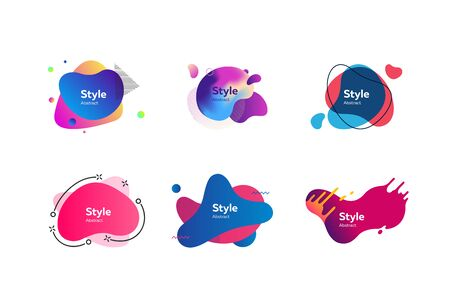 Modern bright neon shapes set. Multicolored abstract shapes and lines with sample text. Trendy minimal templates for presentations, banners, apps and web pages. Vector illustration