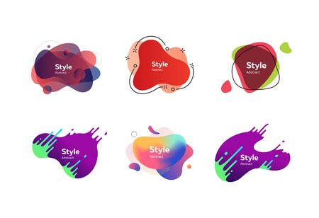 Neon multi layer shapes set. Modern abstract banners with sample text. Trendy minimal templates for presentations, banners, apps and web pages. Vector illustration Ilustrace
