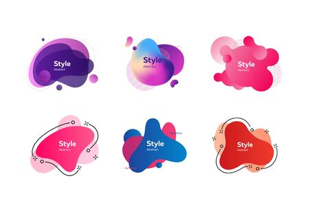 Neon multicolored abstract shapes set. Modern dynamic figures and lines on white background. Trendy minimal templates for presentations, banners, apps and web pages. Vector illustration
