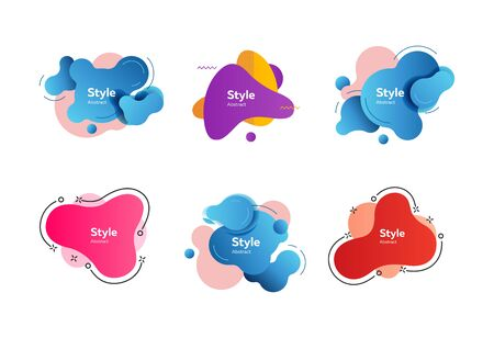 Set of abstract liquid shapes. Dynamical colored forms and line. Gradient banners with flowing liquid shapes. Template for design of cover, flyer or presentation. Vector illustration