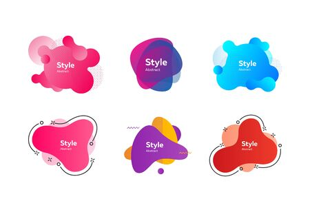Set of beautiful flowing graphic elements. Design background with flowing shapes. Vector illustration. Can be used for advertising, marketing, presentation