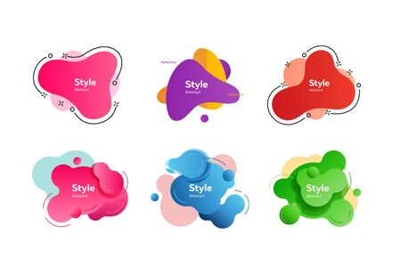 Set of bright abstract figures. Dynamical colored forms and line. Gradient banners with flowing liquid shapes. Vector illustration. Can be used for placard, webinar, presentation Ilustrace