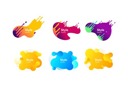Set of bright creative graphic elements. Dynamical colored forms. Gradient banners with flowing liquid shapes. Template for design of flyer or presentation. Vector illustration Illusztráció