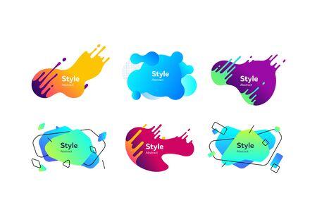 Set of bright geometric liquid shapes. Abstract background. Dynamic effect. Futuristic technology style Illusztráció