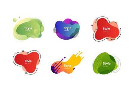 Set of colorful abstract style elements. Dynamical liquid shapes for banners. Trendy minimal templates for presentations, banners, apps and web pages. Vector illustration Ilustrace