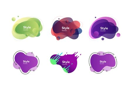Set of colorful geometric shapes. Dynamical colored forms. Gradient banners with flowing liquid shapes. Template for design of website or presentation. Vector illustration Ilustrace