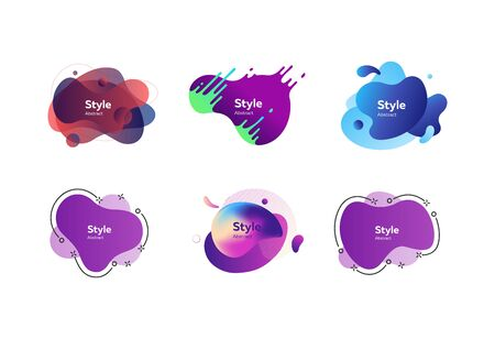 Set of colorful gradient abstract elements. Dynamical liquid shapes with sample text. Templates for presentations, banners, flyers and apps. Vector illustration Ilustrace