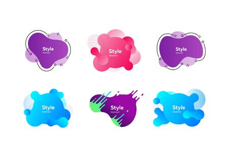 Set of creative abstract graphic elements. Dynamical colored forms. Gradient banners with flowing liquid shapes. Template for design of  flyer or presentation. Vector illustration