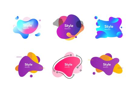Set of vivid abstract geometric shapes. Dynamical colored forms. Gradient banners with flowing liquid shapes. Template for design of flyer or presentation. Vector illustration