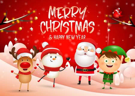 Merry Christmas banner design on red winter background with happy cartoon characters standing on hills. Lettering can be used for invitations, signs, announcements