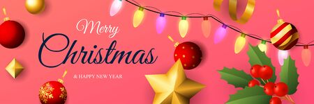 Merry Christmas banner design with colorful lights on pink horizontal background with holy berry, red balls. Lettering can be used for invitations, signs, announcements Ilustrace