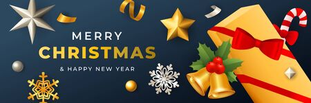 Merry Christmas banner design with gift box covered with ribbon on dark blue horizontal background with golden and silver confetti. Lettering can be used for invitations, signs, announcements