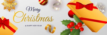 Merry Christmas banner design with packaged gift boxes on light gray horizontal background with holy berry and glowing confetti. Lettering can be used for invitations, signs, announcements