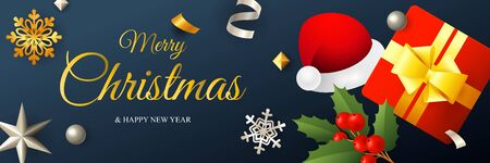 Merry Christmas banner design with Santa hat and gift box on dark blue horizontal background with golden and silver confetti. Lettering can be used for invitations, signs, announcements Ilustrace