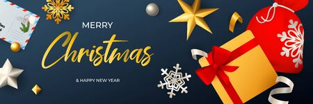 Merry Christmas banner design with Santa sack and gift box on dark blue horizontal background with letter and snowflakes. Lettering can be used for invitations, signs, announcements