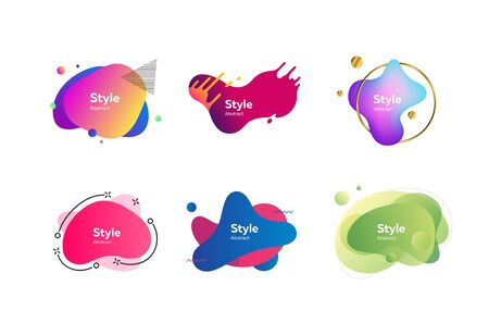 Modern creative banners set. Colorful dynamic shapes with sample text. Trendy minimal templates for presentations, banners, flyers and web pages. Vector illustration Ilustrace