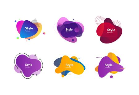 Multicolored abstract stains set. Modern fluid multi layer compositions with sample text. Trendy minimal templates for presentations, banners, apps and websites. Vector illustration
