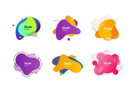 Multicolored dynamic shapes for banners set. Modern abstract figures and lines with sample text. Trendy minimal templates for presentations, banners, apps and web pages. Vector illustration