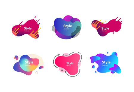 Set of multi-colored flowing liquid abstract graphic elements. Dynamical colored forms. Gradient banners with flowing liquid shapes. Template for design of  flyer or presentation. Vector Illusztráció