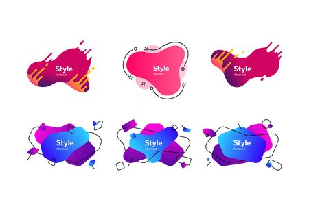Set of multi-colored abstract design shapes. Dynamical colored forms and line. Template for design of flyer. Vector illustration. Can be used for advertising, marketing, presentation