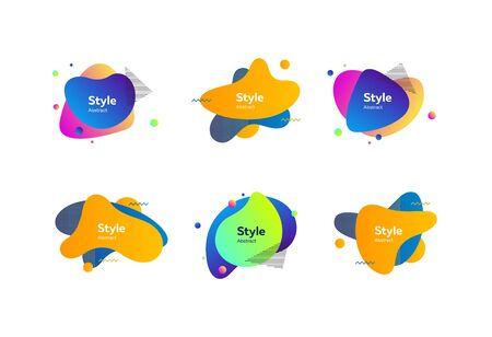 Creative colorful abstract forms. Dynamical colored forms. Gradient banners with flowing liquid shapes. Template for design of landing page, placard or presentation. Vector illustration Ilustrace