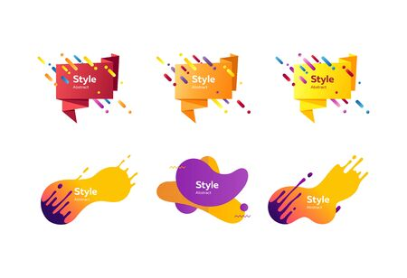 Set of modern abstract vector banners. Dynamical colored forms and line. Template for the design of flyer or presentation. Vector illustration Ilustrace