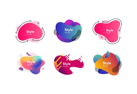 Set of modern abstract dynamical shapes. Gradient banners with flowing liquid shapes. Template for design of flyer or presentation. Vector illustration
