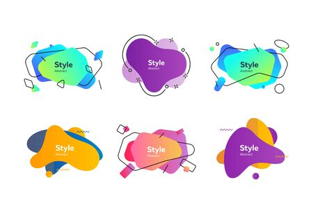 Multi-colored collection of creative shapes. Dynamical colored forms and line. Gradient banners with flowing liquid shapes. Template for design of flyer or presentation. Vector illustration