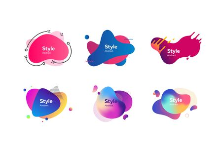 Multi-colored abstract liquid shapes. Dynamical colored forms. Gradient banners with flowing liquid shapes. Template for design of commercial, landing page or presentation. Vector illustration