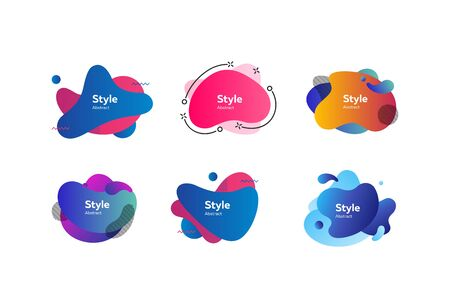 Set of trendy multi-colored graphic elements. Bright background. Vector illustration. Can be used for advertising, marketing, presentation