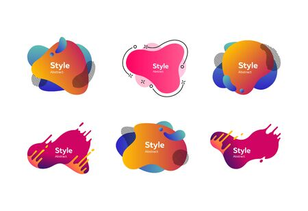 Set of muted multi-colored abstract shapes. Creative background. Dynamic effect. Futuristic technology style. Motion