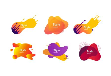 Set of modern design colored elements. Dynamical colored forms. Gradient banners with flowing liquid shapes. Template for design of  flyer or presentation. Vector illustration Illusztráció