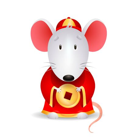 Gray mouse with Chinese coin. Cute rodent mascot in red dress. Can be used for topics like cartoon character, luck, money Ilustrace
