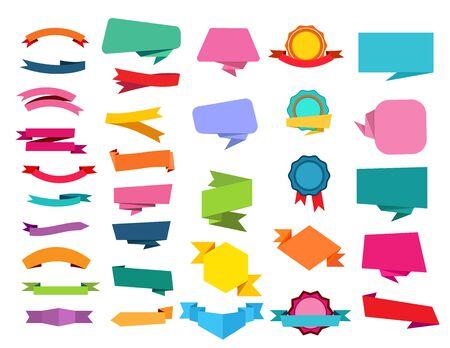 Conjunto de cinta de dibujos animados. Burbujas de discurso, origami, medallas, premios. Concepto de banners. Las ilustraciones vectoriales se pueden utilizar para la venta, etiquetas, plantillas de emblema