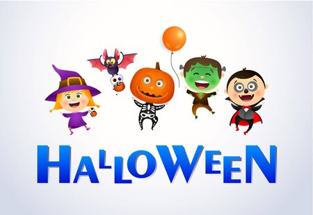 Halloween lettering and cheerful kids wearing monsters costumes. Invitation or advertising design. Typed text, calligraphy. For leaflets, brochures, invitations, posters or banners. 일러스트