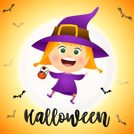 Halloween lettering with girl wearing witch costume. Invitation or advertising design. Handwritten text, calligraphy. For leaflets, brochures, invitations, posters or banners.