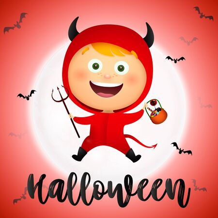 Halloween lettering with happy kid wearing devil costume. Invitation or advertising design. Handwritten text, calligraphy. For leaflets, brochures, invitations, posters or banners. Ilustrace