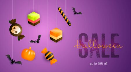 Halloween Sale lettering with candies and sweets. Invitation or advertising design. Handwritten and typed text, calligraphy. For leaflets, brochures, invitations, posters or banners. Ilustrace
