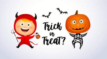 Trick or Treat lettering with kids in devil and pumpkin costumes. Halloween party invitation or advertising design. Handwritten text, calligraphy. For leaflets, brochures, posters or banners. Ilustrace