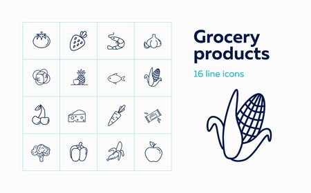 Grocery products line icon set. Set of line icons on white background. Food concept. Apple, cheese, fish, fruits. Vector illustration can be used for topics like grocery, green market, healthy eating Иллюстрация
