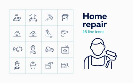 Home repair line icon set. Decorator, contractor, hand tools. Construction concept. Can be used for topics like painting, brickwork, design project Stock Illustratie