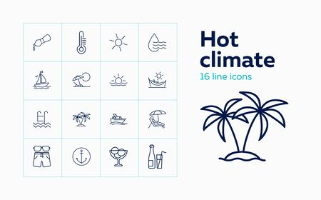 Hot climate icons. Set of line icons. Humidity, trip, tourism. Vacation concept. Vector illustration can be used for topics like voyage, weather, recreation  Ilustrace