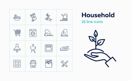 Household line icon set. Washing machine, cooking, gardening. Housework concept. Can be used for topics like home appliance, housekeeping, cleaning Stock Vector - 129074835