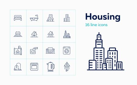 Housing line icon set. Bedroom, building, kettle. Construction concept. Can be used for topics like real estate development, apartment, rent, residential property Stock Illustratie