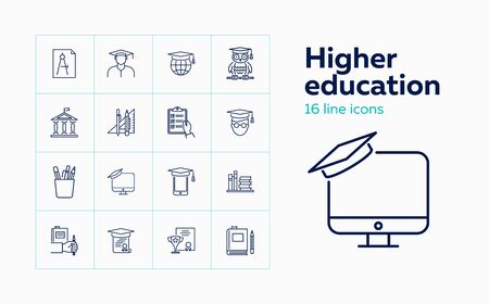 Higher education line icon set. Owl, graduation cap, diploma. Studying concept. Can be used for topics like college, honor degree, learning