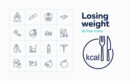 Losing weight icons. Set of line icons. Fitness, yoga, healthy eating, vegetarian food. Healthy lifestyle concept. Vector illustration can be used for topics like wellness, sport, health